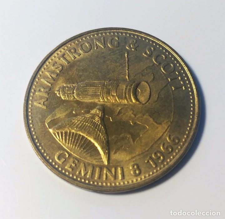 MONEDA CONMEMORATIVA MISION GEMINI 8 1966 - NASA - ARMSTRONG & SCOTT - SHELL (Numismática - Medallería - Trofeos y Conmemorativas)