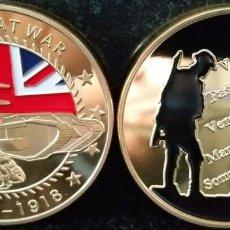 Trofeos y medallas: MONEDA ORO 1 OZ CONMEMORATIVA 1 GRAN GUERRA MUNDIAL DE BRITISH REMEMBRANCE TROOPS UNION JACK POPPY. Lote 75200095
