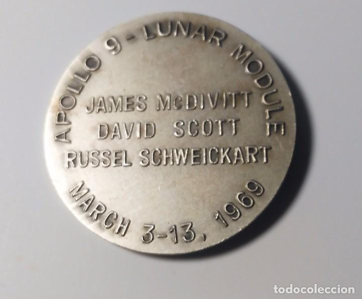 Trofeos y medallas: MONEDA O MEDALLA CONMEMORATIVA MISION APOLO 9 -MODULO LUNAR - 1969 - NASA - Foto 2 - 75255023