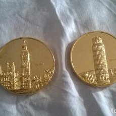 Trofeos y medallas: MONEDAS CONMEMORATIVAS DE LA UE. ITALIA Y REINO UNIDO BAÑADAS EN ORO. MUY BUEN ESTADO.. Lote 76012763