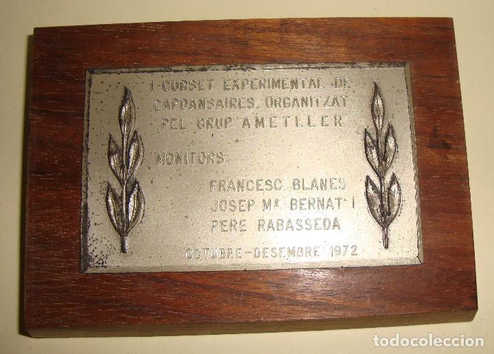MEDALLA TEMA SARDANA PLACA I CURSET EXPERIMENTAL DE CAPSANSAIRES ORGANITZAT AMETLLER 1972 (Numismática - Medallería - Trofeos y Conmemorativas)