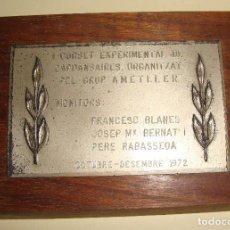 Trofeos y medallas: MEDALLA TEMA SARDANA PLACA I CURSET EXPERIMENTAL DE CAPSANSAIRES ORGANITZAT AMETLLER 1972. Lote 79090285