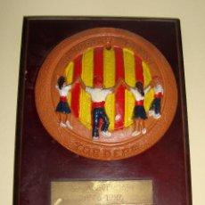 Trofeos y medallas: MEDALLA TEMA SARDANA PLACA LA NOSTRA DANSA TORDERA X ANIVERSARI 1976 1986 CERAMICA. Lote 79090513