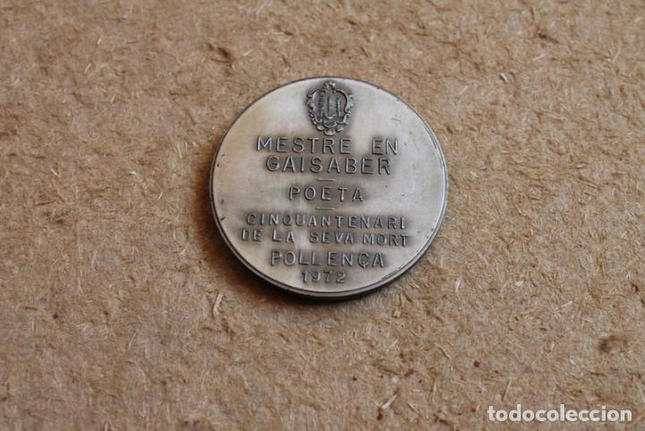 Trofeos y medallas: Medalla Miquel Costa i Llobera. Mestre en Gaisaber. Poeta. Cinquantenari de la seva mort. Pollença - Foto 2 - 83292416