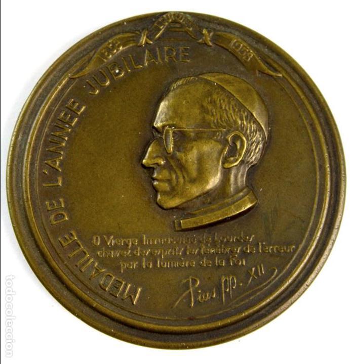 Trofeos y medallas: M-607. MEDALLA OFICIAL DEL CENTENARIO APARICION VIRGEN EN LOURDES. 1958. - Foto 2 - 83444644
