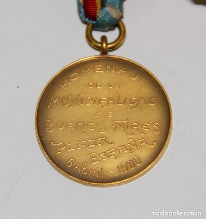Trofeos y medallas: MEDALLA DE LA MUNICIPALIDAD DE BUENOS AIRES EN HOMENAJE A ESPAÑA. BRONCE. 1900 - Foto 4 - 89828932