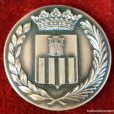 Trofeos y medallas: MEDALLA DE BRONCE. CENTENARIO DE LA LLEGADA DEL FERROCARRIL. VILANOVA I LA GELTRU. 1981.. Lote 92664425
