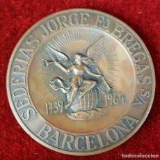 Trofeos y medallas: MEDALLA DE BRONCE. SEDERIAS JORGE FABREGAS. BARCELONA. 1964.. Lote 92685805