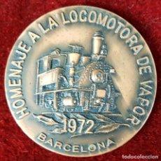 Trofeos y medallas: MEDALLA DE BRONCE. HO,ENAJE A LA LOCOMOTORA DE VAPOR. BARCELONA 1972.. Lote 92777530