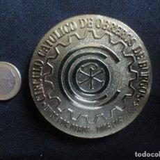 Trofeos y medallas: MEDALLA DE ORO DE LA CIUDAD 1883 - 1983 CIRCULO CATOLICO DE OBREROS DE BURGOS. Lote 94360290