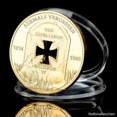 Trofeos y medallas: MONEDA CONMEMORATIVA 1 Y 2 GUERRA MUNDIAL - ALEMANIA - 1914 - 1945 CRUZ DE HIERRO BAÑADA EN ORO (1). Lote 95357119
