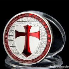 Trofeos y medallas: MONEDA CONMEMORATIVA CABALLEROS TEMPLARIO - CRUZ ROJA - LEER DESCRIPCION. Lote 95358755