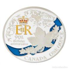 Trofeos y medallas: MONEDA CONMEMORATIVA 90 ANIVERSARIO REINA ISABEL II - CUMPLEAÑOS 2016 CANADA PLATA LEER DESCRIPCION. Lote 95360035