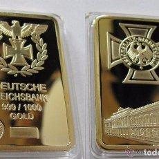 Trofeos y medallas: LINGOTE ALEMANIA NAZI ORO DEUTSCHE REICHSBANK EDICION LIMITADA - CRUZ AGUILA. Lote 181009080