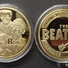 Trofeos y medallas: MONEDA DE LOS BEATLES ORO 24KT - THE BEATLES - RINGO JOHN GEORGE Y PAUL GOLD COIN. Lote 95397039