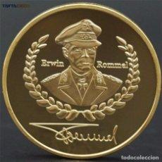 Trofeos y medallas: MONEDA ORO 24K ALEMANIA DE ERWIN ROMMEL FIRMA 1891-1944 DEUTSCHE WEHRMACHT NAZI COIN. Lote 95414507