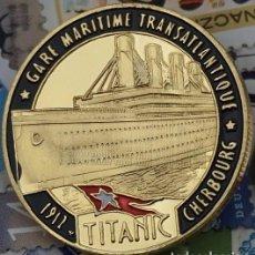 Trofeos y medallas: MONEDA CONMEMORATIVA TITANIC VIAJE TRANSATLANTICO ORO - DIFICIL DE CONSEGUIR - LEER DESCRIPCION. Lote 95415315