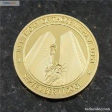 Trofeos y medallas: MONEDA CONMEMORATIVA TORRES GEMELAS ESTADOS UNIDOS - ATAQUE TERRORISTA - HEROES DE AMERICA (1). Lote 95415707