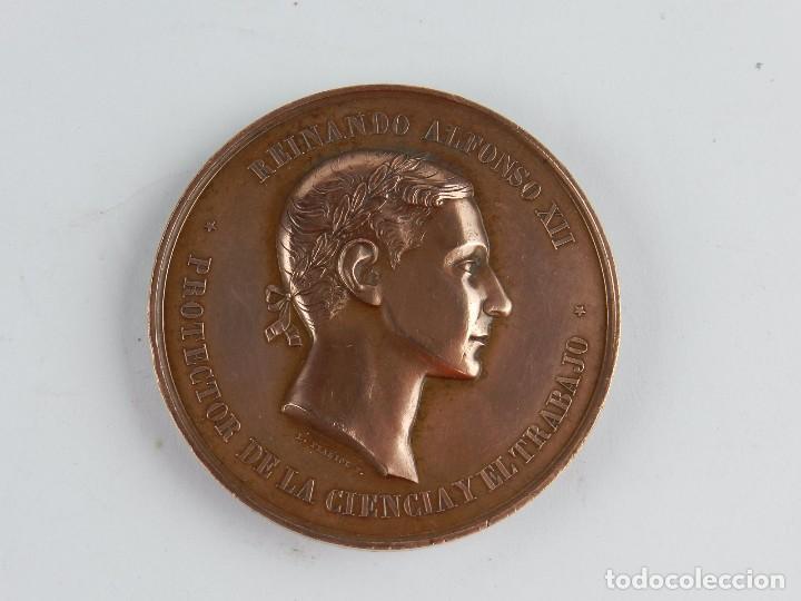MEDALLA DE LA EXPOSICION DE GUADALAJARA, PREMIO AL MERITO 1876, REINANDO ALFONSO XII, PROTECTOR DE L (Numismática - Medallería - Trofeos y Conmemorativas)