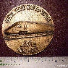 Trofeos y medallas: MEDALLA PRIMER VIAJE DEL AVE MADRID-SEVILLA ABRIL-1992. Lote 103751767
