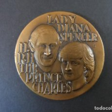 Trofeos y medallas: MEDALLA CONMEMORATIVA BODA PRINCIPE CHARLES Y LADY DIANA .EN BRONCE. AÑO 1981. Lote 110195427