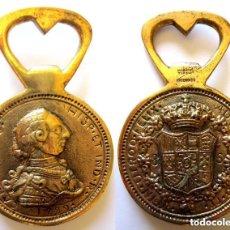 Trofeos y medallas: MEDALLA CONMEMORATIVA ABRIDOR ABREBOTELLAS JOYERÍA VILLANUEVA LAISECA 8 ESCUDOS CARLOS IV 1789. Lote 110342195