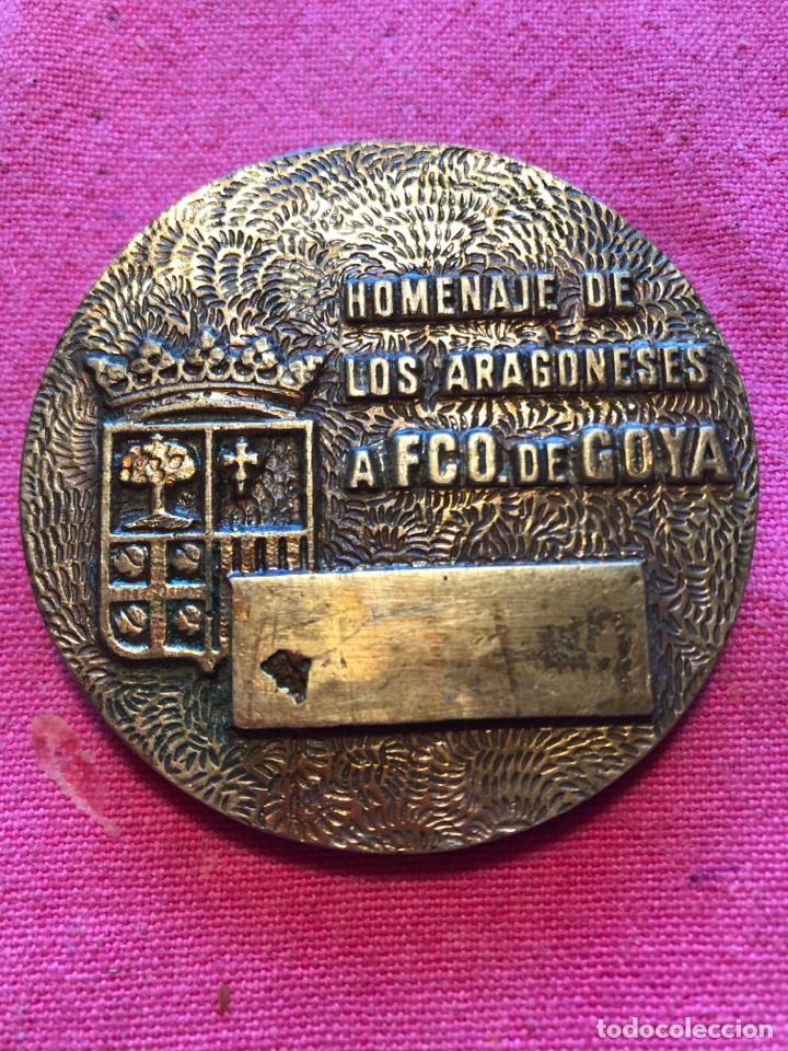 Trofeos y medallas: MEDALLA GOYA HOMENAJE ARAGONES A FRANCISCO DE GOYA ARAGON ZARAGOZA BRONCE ANTIGUA - Foto 2 - 112956091