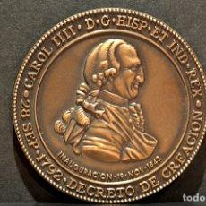Trofeos y medallas: MEDALLA EN BRONCE DEL BICENTENARIO DEL MUSEO NAVAL DE MADRID CARLOS IV 1792 . Lote 78281341