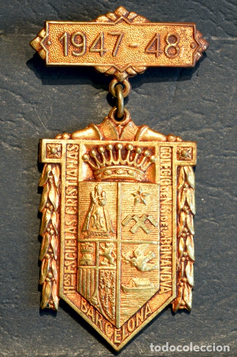 Trofeos y medallas: ANTIGUA MEDALLA AL MERITO ESCOLAR BARCELONA 1947 - 1948 COLEGIO LA SALLE LA BONANOVA - Foto 2 - 71065741