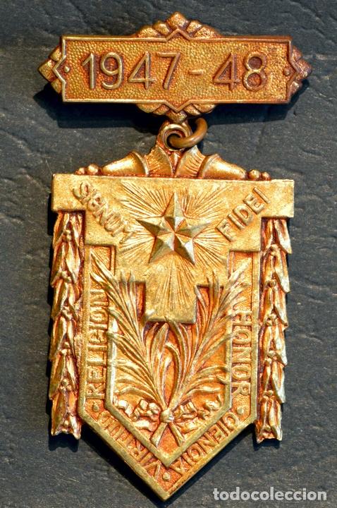 Trofeos y medallas: ANTIGUA MEDALLA AL MERITO ESCOLAR BARCELONA 1947 - 1948 COLEGIO LA SALLE LA BONANOVA - Foto 3 - 71065741