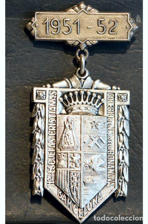 Trofeos y medallas: ANTIGUA MEDALLA AL MERITO ESCOLAR BARCELONA 1951 - 1952 COLEGIO LA SALLE LA BONANOVA - Foto 2 - 71066121
