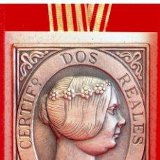 Trofeos y medallas: MEDALLA SELLO METALICO CORREOS 1851 ISABEL II 2 REALES ESTUCHE ORIGINAL. Lote 56571182