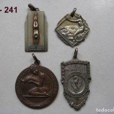 Trofeos y medallas: LOTE DE 4 MEDALLA S ANTIGUAS CLUB NATACIÓ ATLÈTIC BARCELONETA. PROBABLEMENTE AÑOS 40. ENVÍO GRATUITO. Lote 117062231