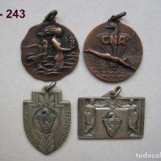 Trofeos y medallas: LOTE DE 4 MEDALLA S ANTIGUAS CLUB NATACIÓ ATLÈTIC BARCELONETA. AÑOS 60. ENVÍO GRATUITO (CERTIFICADO). Lote 117064279