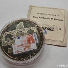 Trofeos y medallas: MONEDA CONMEMORATIVA CON BILLETE 10€ CON CERTIFICADO DE ORIGINALIDAD - UNION EUROPEA . Lote 118948263