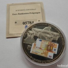 Trofeos y medallas: MONEDA CONMEMORATIVA CON BILLETE 50€ CON CERTIFICADO DE ORIGINALIDAD - UNION EUROPEA. Lote 118948415