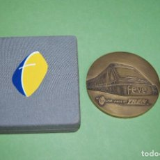 Trofeos y medallas: MEDALLA DE BRONCE DE FEVE - PRIMER ENCUENTRO INTERNACIONAL DE VÍA MÉTRICA - 2007 - TREN - CON CAJA. Lote 121560011
