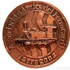 Trofeos y medallas: MEDALLA EN BRONCE TREN PRIMER FERROCARRIL TARRAGONA GRAN TAMAÑO. Lote 155730317
