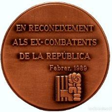 Trofeos y medallas: MEDALLA EN BRONCE PSOE EN RECONEIXEMENT ALS EX-COMBATENTS DE LA REPÚBLICA 1989. Lote 103210739