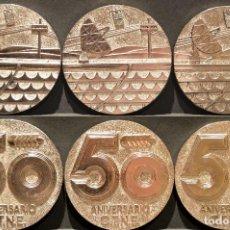 Trofeos y medallas: LOTE 6 MEDALLAS METALICAS DE TELEFONICA 50 ANIVERSARIO. Lote 137447706