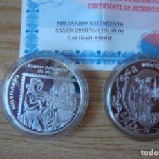 Trofeos y medallas: MONEDA PLATA ENCAPSULADA MILENARIO SANTO DOMINGO DE SILOS PERFECTA. Lote 138809302