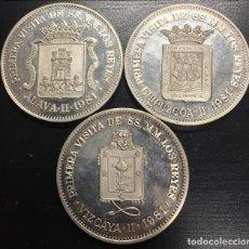 Trofeos y medallas: 3 MEDALLAS PLATA 1981 VIZCAYA GUIPUZCOA ALAVA VISITA DE LOS REYES DE ESPAÑA 300 UDS. BILBAO VITORIA. Lote 143723350