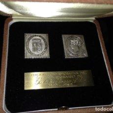 Trofeos y medallas: SELLOS CONMEMORATIVOS DEL 50 ANIVERSARIO DE ROTULOS ROURA 1930-1980 - PLATA FINA 999/000. Lote 144277538