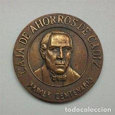 Trofeos y medallas: GRAN MEDALLÓN DE BRONCE. PRIMER CENTENARIO DE LA CAJA DE AHORROS DE CÁDIZ. Lote 147400406