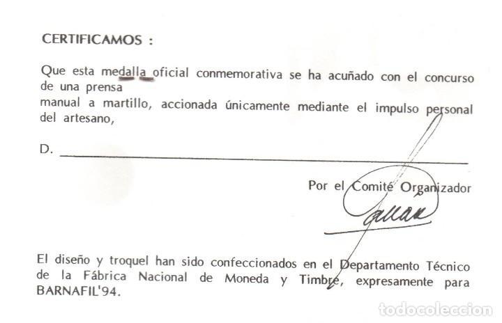 Trofeos y medallas: FUTBOL CLUB BARCELONA - MEDALLA CONMOMERATIVA - BARNAFIL 1994 - Foto 4 - 166799853