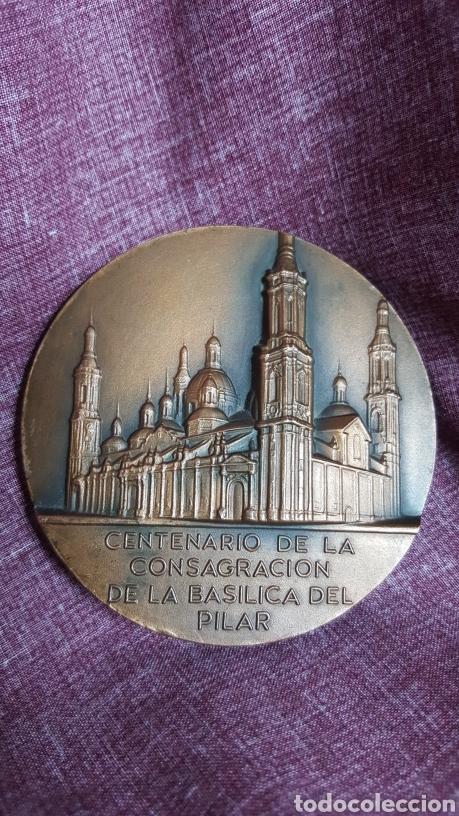 MEDALLA DEL CENTENARIO DE LA CONSAGRACIÓN DE LA BASÍLICA DEL PILAR (Numismática - Medallería - Trofeos y Conmemorativas)