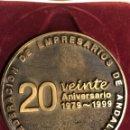 Trofeos y medallas: MEDALLA. ANDALUCÍA. CONFEDERACIÓN DE EMPRESARIOS DE ANDALUCÍA. 20 ANIVERSARIO (1979 - 1999). Lote 148812520