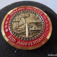Trofeos y medallas: MAGNIFICA MEDALLA CONMEMORATIVA EN BRONCE ESMALTADO,ROLLING THUNDER 20 ANIVERSARIO 1988- 2007. Lote 149485366