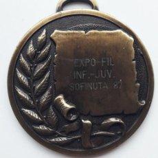 Trofeos y medallas: MEDALLA CONMEMORATIVA. EXPO INFANTIL JUVENIL SOFINUTA 1987. TARRAGONA. 6 CM. DIAMETRO.. Lote 152059230