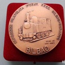 Trofeos y medallas: MEDALLA CONMEMORATIVA EXPOSICION FILATELICA 1ER CENTENARIO FFCC FERROCARRIL BILBAO DURANGO VIZCAYA. Lote 152277334